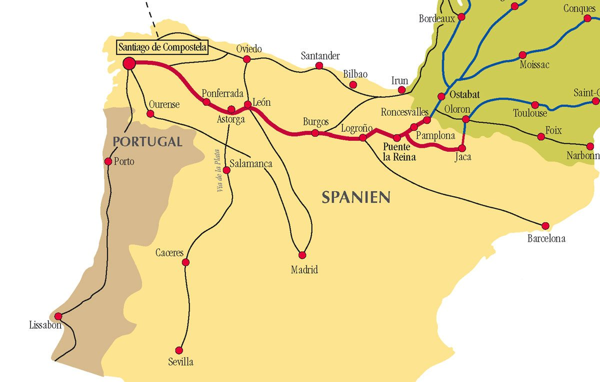 Map Of Camino De Santiago Camino de Santiago Routes in Spain Map Of Camino De Santiago