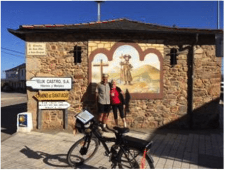 The 2nd picture is of us with one of the many pilgrim mosaics or paintings which we pass en route. We asked an Italian cyclist to take the pic for us, of course he couldn't resist including his bike, could he?