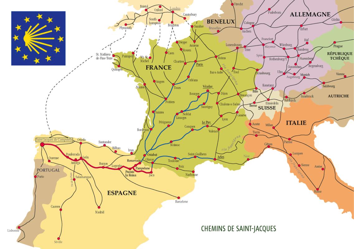 How long is the camino de santiago - St jean pied de port to santiago distance ...